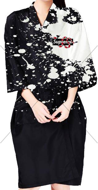 Full Baskılı Kimono - BM- kmn 005 ürünü kuaför ve berberlerin en çok tercih ettiği personel önlüğüdür.