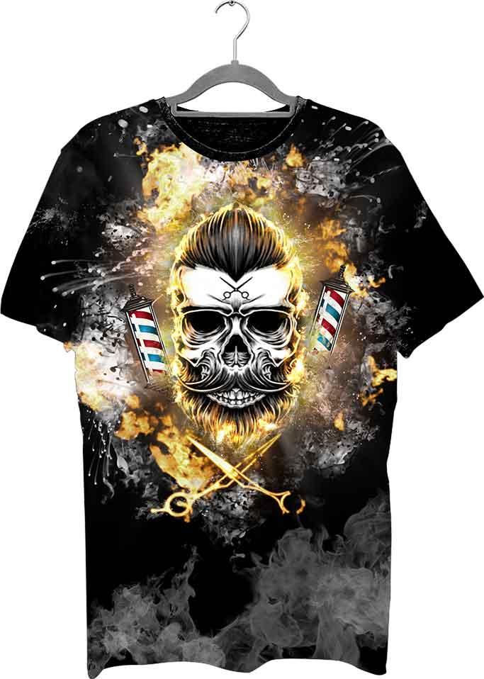Barber Mood 3D Fire Skull Tişört rahat ve hava geçiren bir kumaş yapısında üretilmektedir.